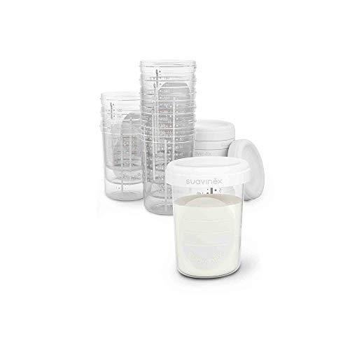 Suavinex - tarritos almacenaje leche materna 10 unidades. para Congelar y Transportar leche materna. sin BPA. con tapa de Rosca Hermética...