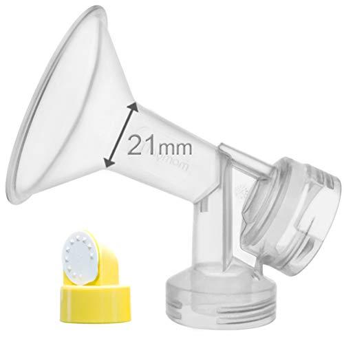 Reemplace Medela 21 mm Personal Fit mama Escudo y conector; 21mm De una sola pieza copa con válvula y membrana para extracores de leche...