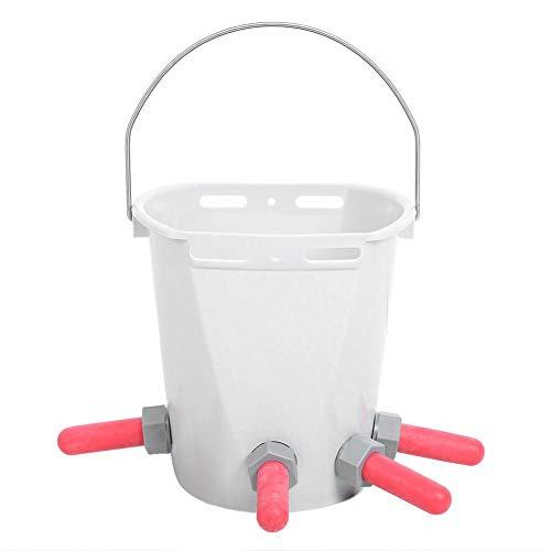 Atyhao Cubo de Leche, HL-MP70 Plástico Blanco Múltiples pezones Alta Capacidad de Cordero para Leche de Cordero Cubo de alimentación para...