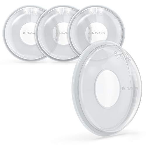 Navaris 4x Copa leche materna - Conchas recolectoras lactancia para biberones - Set de 4 copas protectoras cubre pezones - Sin BPA -...