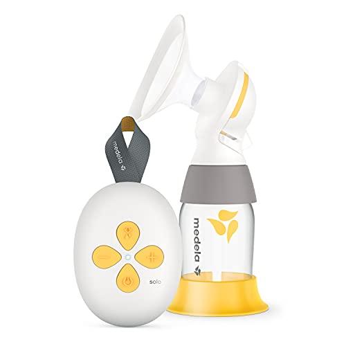 Medela Extractor de leche eléctrico Solo - notablemente más silencioso, recargable por USB, con embudo PersonalFit Flex y tecnología de...