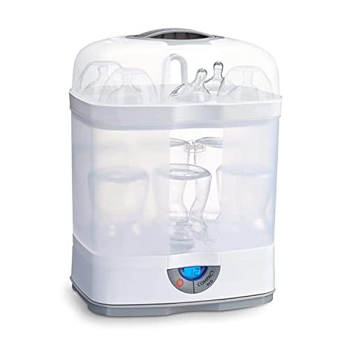 Chicco SterilNatural Esterilizador de Biberones 3 en 1, Esterilizador Natural de Vapor para Microondas con 3 Configuraciones, Rápido y...