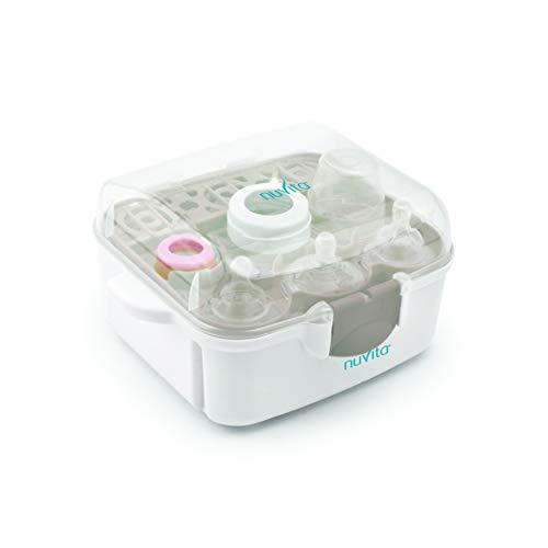 Nuvita 1085 | Esterilizador Biberones Microondas | Ultra Compacto 25 cm Cabe en TODOS los Microondas | Compartimento Chupetes y Tetinas...