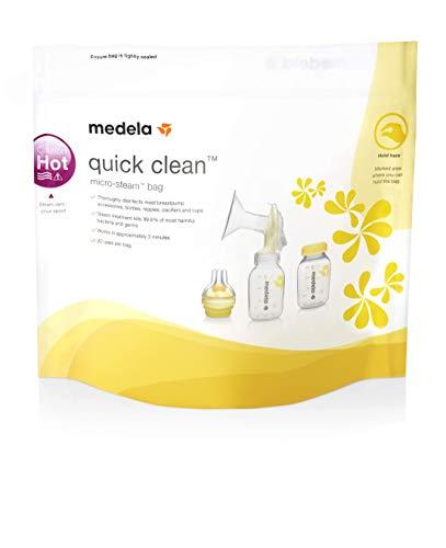 Bolsas para microondas Quick Clean de Medela - Limpieza rápida y cómoda de las piezas o accesorios del sacaleches, reutilizables, paquete...