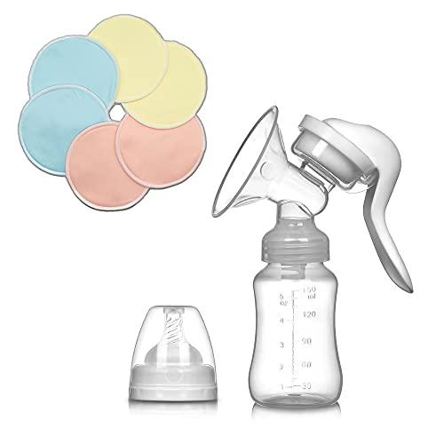 Sacaleches Manual + 6 Discos Lactancia Reutilizables Gratis - Recolector de leche materna - Extractor materno - Discos absorbentes lavables...