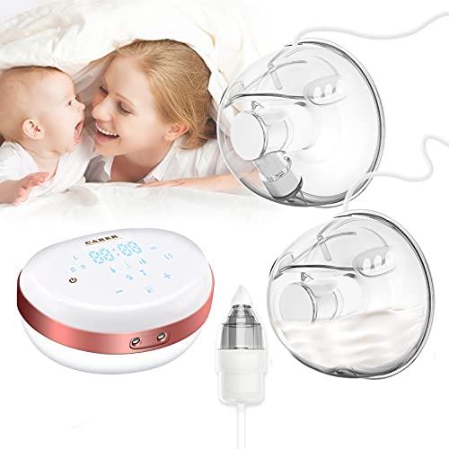 Sacaleches Eléctrico, Extractor de leche eléctrico doble, extractor de lactancia manos libres con aspirador nasal para bebés, a prueba de...