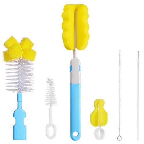 BESLIME Cepillo Para Biberones-Kit de Limpiador de Cepillo de Botella Cepillo de Pezón de Bebé Cepillo de Paja,6 en 1 Kit de limpiador de...