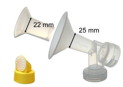 Maymom - Protector de pecho para sacaleches Medela con válvula y membrana (pequeño, 25 mm, 1 pieza)