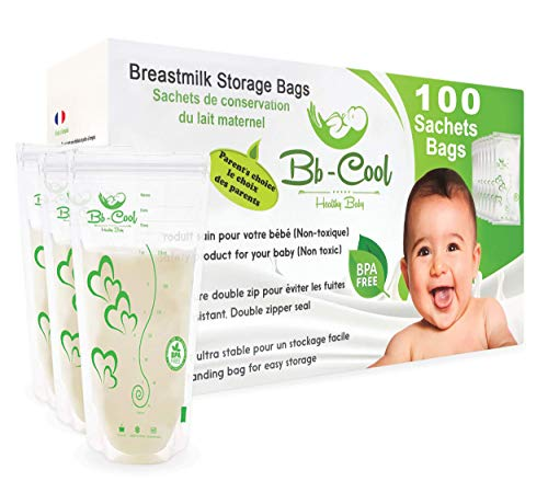 Bolsas de almacenamiento para conservar y congelar leche materna, 100 Contenedores de leche preesterilizadas a prueba de fugas LIBRE de BPA...