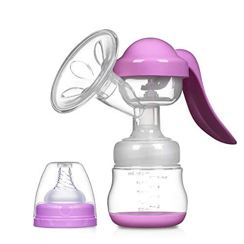 SONARIN Sacaleches Manual,Extractor de leche Transparente,libre de BPA y 100% de silicona de grado alimenticio(Púrpura)