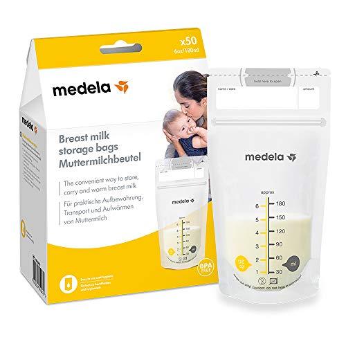 Medela Juego de bolsas de almacenamiento de leche materna de 180 ml, 50 bolsas de leche materna sin BPA con doble cremallera, congelación...