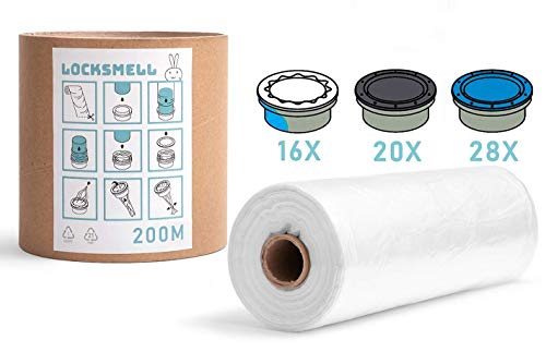 LOCKSMELL Nappy Bin Liner 200m Compatible con los cartuchos Tommee Tippee Sangenic Angelcare & Litter Locker II | Equivalente a 28 Angelcare...