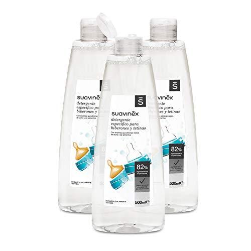 Suavinex Detergente para Biberones y Tetinas con 82% de Ingredientes de Origen Natural. sin Alcohol y sin Colorantes, Pack de 3x500ml...