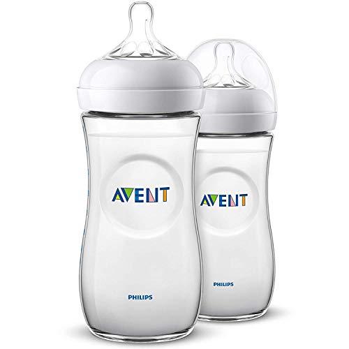 Philips Avent Biberón Natural SCF036/27 - Pack de dos biberones, de 330 ml con tetina con flujo para recién nacidos, diseñada para imitar...