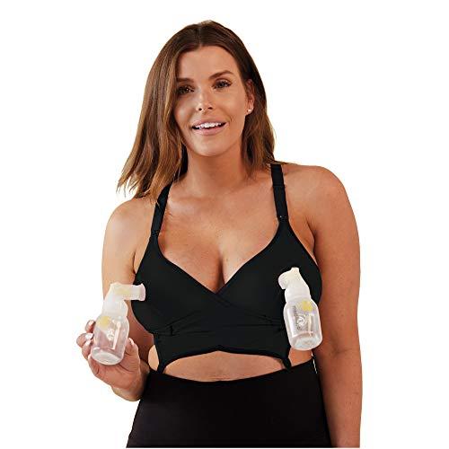 BRAVADO! DESIGNS Sujetador de Lactancia y Bombeo Todo en uno Original para Mujer en algodón - Nero - M