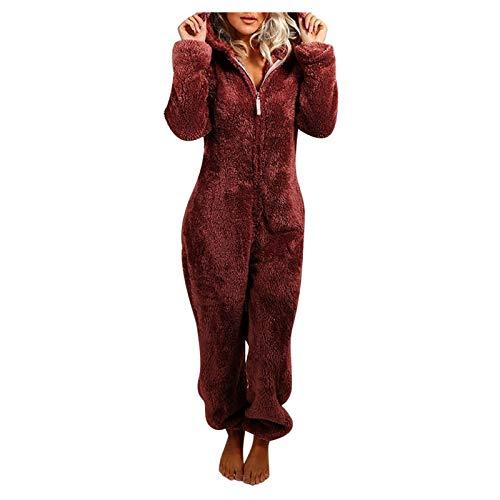 Zilosconcy Monos de Pijama de una Pieza para Mujer, Pijamas de Invierno con Cremallera de Manga Larga y Felpa, Mameluco Acogedor con Capucha...