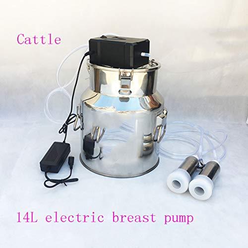 Máquina de ordeño de cabra eléctrica bovinos y ovinos eléctrico bomba de pecho leche cubo depósito contenedor barril Set kit 14l acero...