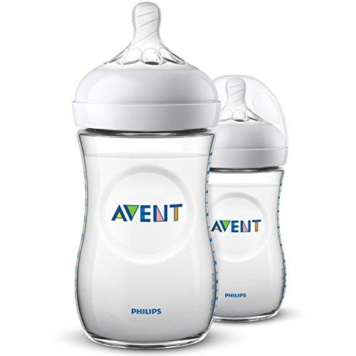 Philips Avent Biberón Natural SCF033/27 - Pack de dos biberones de 260 ml con tetina con flujo para recién nacidos, diseñada para imitar...