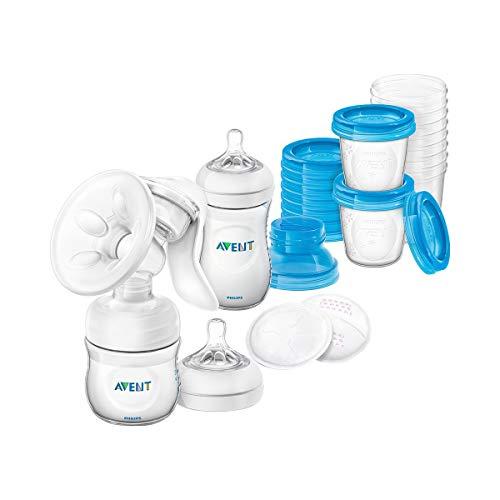 Juego de lactancia con bomba de leche manual SCD221/00, incluye botella natural, vaso de almacenamiento y compresas de lactancia.