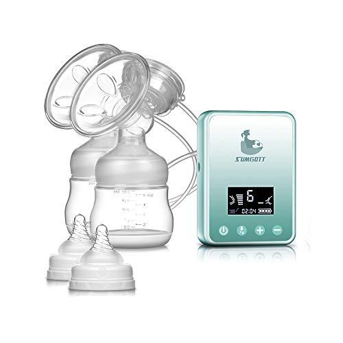 Extractor de leche Sacaleches eléctrico - SUMGOTT Pantalla LCD digital recargable Bomba de lactancia doble Prolactina posparto automático