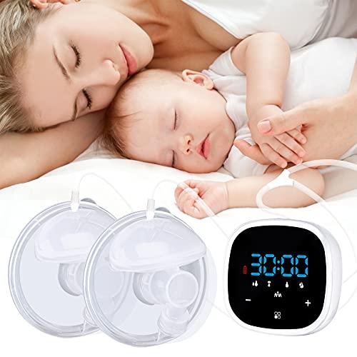 Bomba de mama eléctrica doble, bombas de lactancia silenciosas de alta frecuencia con pantalla táctil LCD bombas de lactancia manos libres...