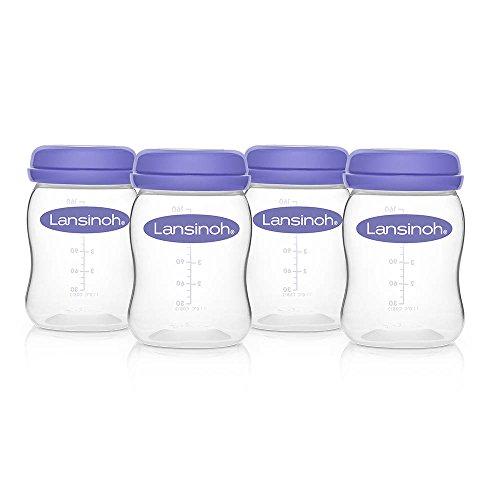 Botellas de Almacenamiento de Leche Materna de Lansinoh para recoger y guardar la leche materna de forma fácil y segura, 160 ml / 4 uds