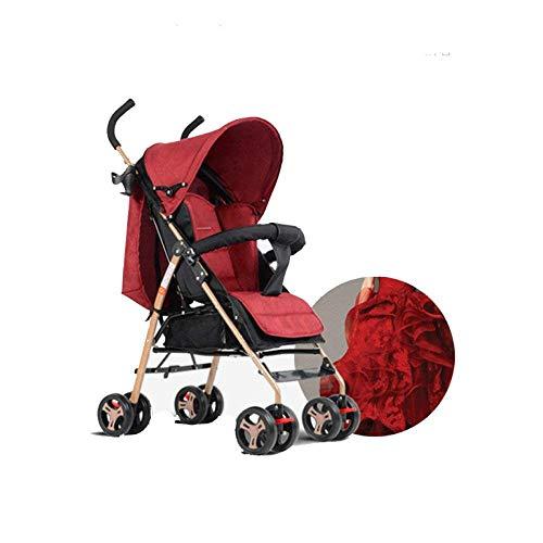 GWM Carretilla Simple cochecito portátil cochecito plegable ligero cochecito de bebé cuatro ruedas (color : Red)
