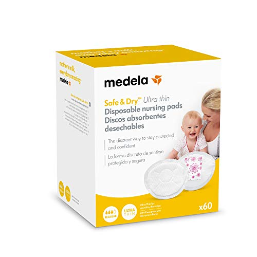 Medela Safe & Dry Ultra Thin - Discos absorbentes desechables, 60 unidades