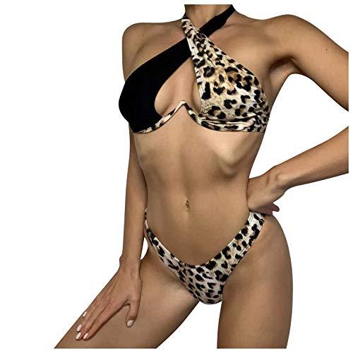 YANFANG BañAdor para Mujer Negro Blanco Guinga Fruncido Traje De BañO Dos Piezas Playa Estampado Leopardo Dividido Sin Espalda Sexy...