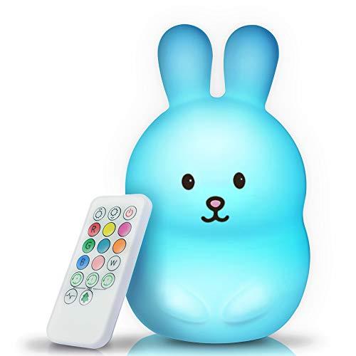 BRUNOKO luz nocturna infantil - lámpara quitamiedos portátil y USB recargable - lámpara infantil LED multicolor con mando - luz bebe...