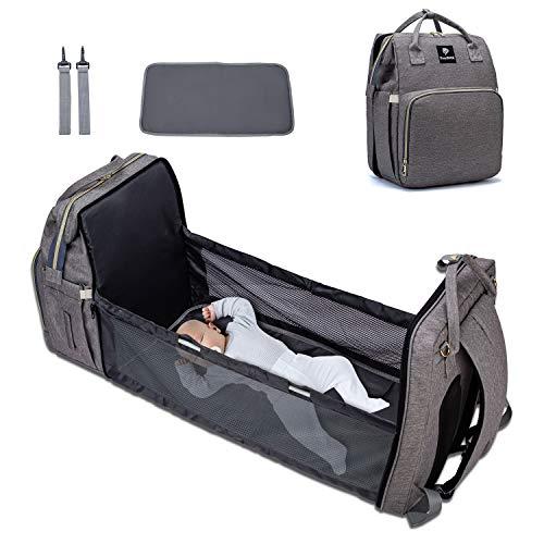 EasySMX Bolso cambiador de bebé multifunción, cuna de viaje para bebé, bolsa de pañales para bebé, mochila para cambiar de bebé, cama...