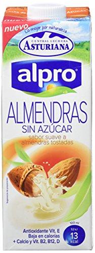 Alpro Central Lechera Asturiana Bebida de Almendras, sin Azúcar, 8 x 1L