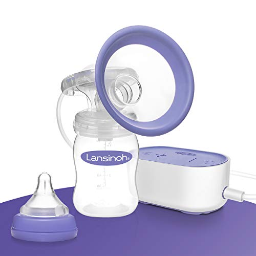 Lansinoh Sacaleches eléctrico Compacto, Especialmente pequeño y silencioso, Ideal para casa y de Viaje, Compatible con Banco de energía
