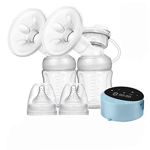 Extractor de leche eléctrico doble, Sacaleches doble Eléctrico Recargable Portátil, 4 modos 10 niveles lactancia Saca leche LED pantalla...