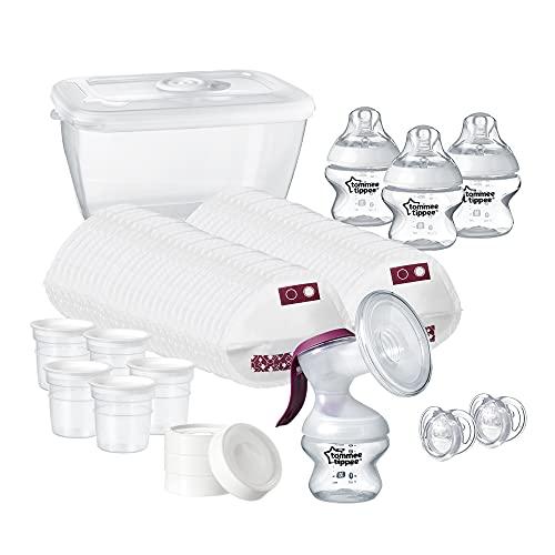 Tommee Tippee 42356861 - Sacaleches, Kit De Inicio De Lactancia: Extractor De Leche Manual Y Accesorios Para Lactancia, Transparente