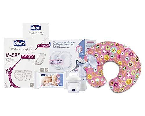 Chicco Kit completo para mamá, contiene compresas post parte, Slip desechables, discos absorbentes, toallitas, sacaleches manual,...