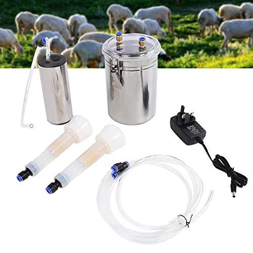 Jnzr 2L Cabra Vaca de ordeño eléctrico de la máquina Portable del vacío Ordeñador Kit de Acero Inoxidable con Leche Barril, 2 Copas del...