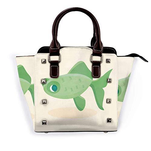 Dibujos animados pez pez niña bolsos bolsos bolsos totalizadores cuero hombro bolsas superior satchel remache mujer para el trabajo compras