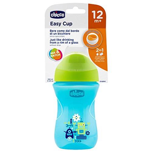 Chicco Smart - Vaso con boquilla fina y rígida anti goteó, color azul y verde