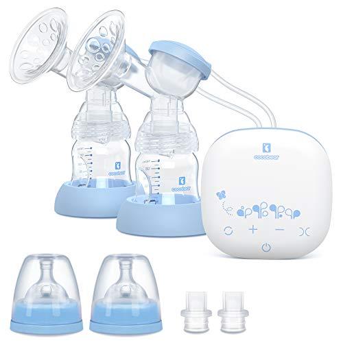 Cocobear Sacaleches Eléctrico,Extractor de leche doble, portátil y recargable por USB, con 2 modos y 9 niveles de succión de mama,...