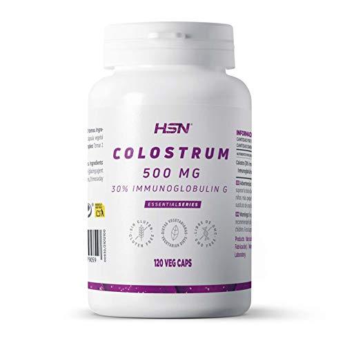 Calostro de HSN | 500mg | Con 30% Inmunoglobulina G | 2000mg Dosis Diaria | Colostrum | Vegetariano, Sin Gluten, 120 Cápsulas Vegetales
