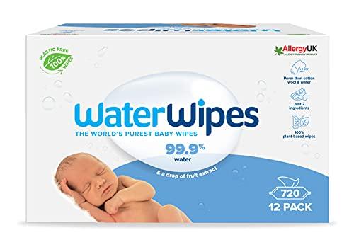 WaterWipes Toallitas de bebé (12 x 60 unidades), las toallitas húmedas más puras para pieles suaves de bebés, toallitas limpiadoras...
