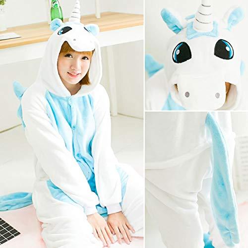 Handaxian Pijamas Damas Adulto Animal Onesies Pijamas de Invierno Pijamas Conjunto de Pijamas de Franela Unicornio Azul XL