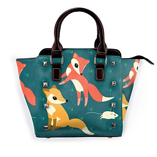 Dibujos animados Fox Mouse Girl Bolsos Monederos Totes Cuero Bolsas Top Satchel Rivet Mujeres para el trabajo de compras