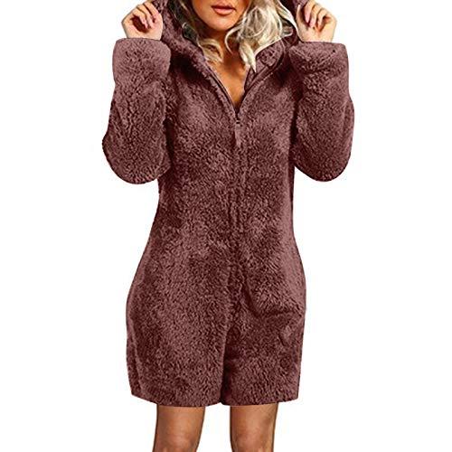 Zilosconcy Bata Suave para Mujer Pijama de Calentita con Capucha y Botones Ropa de Dormir de Forro Polar con Bolsillos Regalos Navidad para...