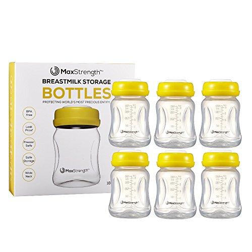 Juego de 6 botellas de leche materna con tapas a prueba de fugas por Max Strength Pro, 180 ml, botellas reutilizables de cuello ancho para...