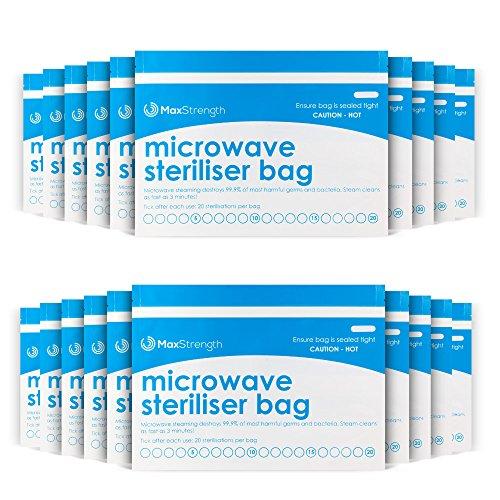 Bolsas de Esterilizador de Microondas Paquete de 10pc Premium de Máxima Fuerza, Bolsas de Vapor Grande y Durable para Biberones, Soother,...