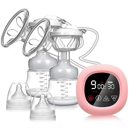 Bomba de lactancia eléctrica, extractores de leche dobles NEKAN portátil de doble aspiración Bomba de leche con pantalla táctil LCD...