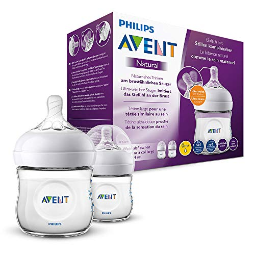 Philips Avent Biberón Natural SCF030/27 - Pack de dos biberones de 125 ml con tetina con flujo para recién nacidos, diseñada para imitar...