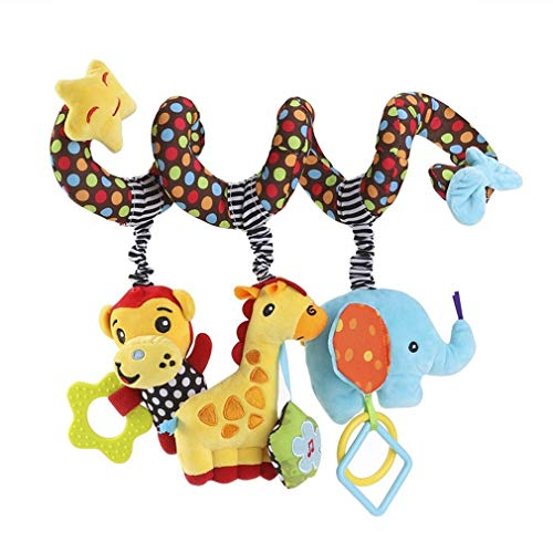 GZQES 1x Bebé Espiral Juguete de Cochecito de Cama Felpa Mono Jirafa Elefante Educativo Juguete Colgando Sonajero para Asiento de Carro...